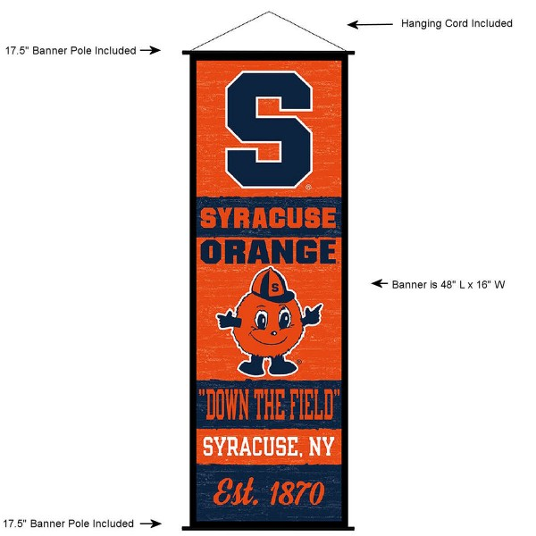 "This ""ready to hang"" Syracuse University Decor and Banner is made of polyester material, measures a large 17.5"" x 48"", offers screen printed athletic logos, and includes both top and bottom 3/4"" diameter plastic banner poles and hanging cord. Our Syracuse University D�cor and Banner is Officially Licensed by the selected college and NCAA."