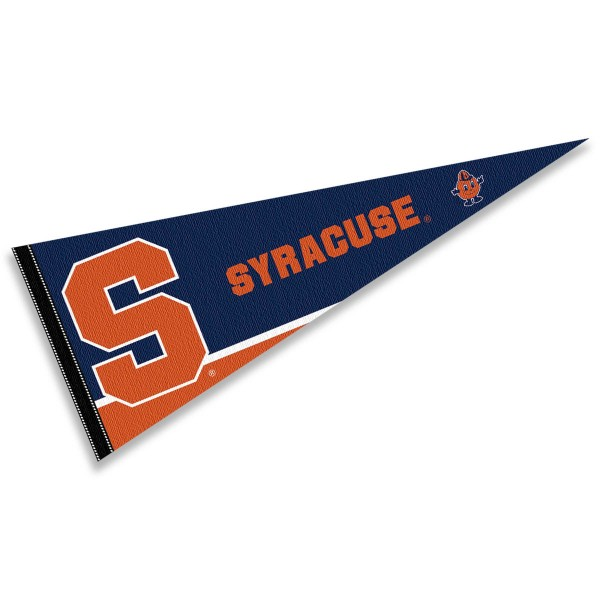 Syracuse University Decorations consists of our full size pennant which measures 12x30 inches, is constructed of felt, is single sided imprinted, and offers a pennant sleeve for insertion of a pennant stick, if desired. This Syracuse University Decorations is officially licensed by the selected university and the NCAA.