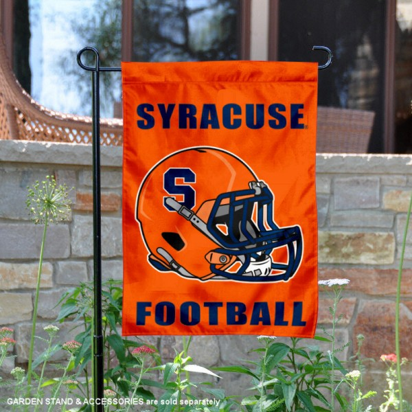 Syracuse University Football Helmet Garden Banner is 13x18 inches in size, is made of 2-layer polyester, screen printed Orange athletic logos and lettering. Available with Same Day Express Shipping, Our Syracuse University Football Helmet Garden Banner is officially licensed and approved by Orange and the NCAA.
