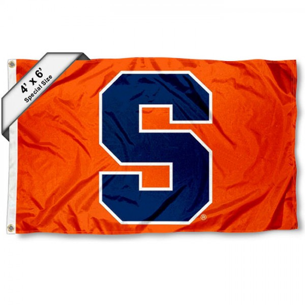 Syracuse University Large 4x6 Flag measures 4x6 feet, is made thick woven polyester, has quadruple stitched flyends, two metal grommets, and offers screen printed NCAA Syracuse University Large athletic logos and insignias. Our Syracuse University Large 4x6 Flag is officially licensed by Syracuse University and the NCAA.