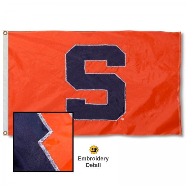 Syracuse University Nylon Embroidered Flag measures 3'x5', is made of 100% nylon, has quadruple flyends, two metal grommets, and has double sided appliqued and embroidered University logos. These Syracuse University 3x5 Flags are officially licensed by the selected university and the NCAA.