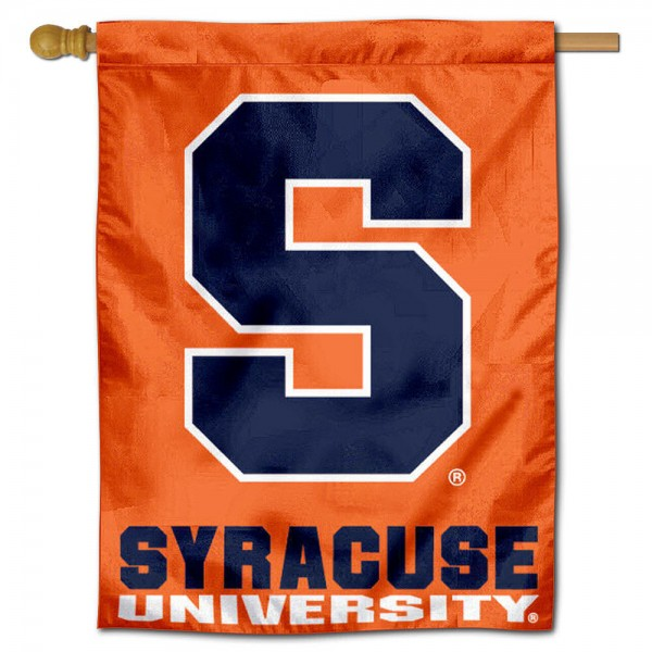"Syracuse University Orange House Flag is constructed of polyester material, is a vertical house flag, measures 30""x40"", offers screen printed athletic insignias, and has a top pole sleeve to hang vertically. Our Syracuse University Orange House Flag is Officially Licensed by Syracuse University and NCAA."