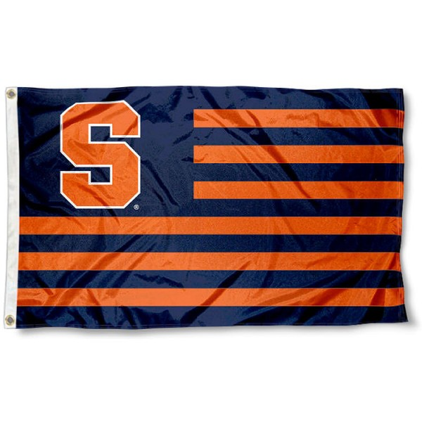Syracuse University Orange Striped Flag measures 3'x5', is made of polyester, offers double stitched flyends for durability, has two metal grommets, and is viewable from both sides with a reverse image on the opposite side. Our Syracuse University Orange Striped Flag is officially licensed by the selected school university and the NCAA.