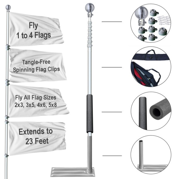 Tailgate Flag Pole Tire Base and Case Kit