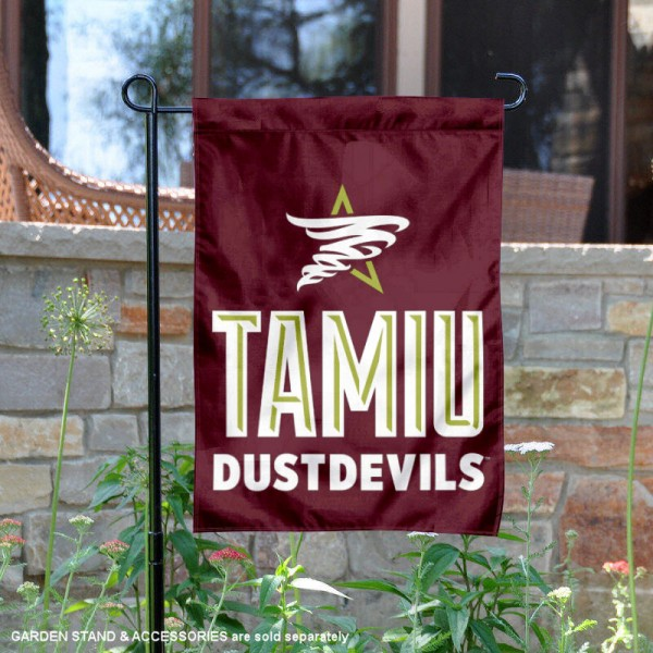 TAMIU Dustdevils Garden Flag is 13x18 inches in size, is made of 2-layer polyester, screen printed university athletic logos and lettering, and is readable and viewable correctly on both sides. Available same day shipping, our TAMIU Dustdevils Garden Flag is officially licensed and approved by the university and the NCAA.