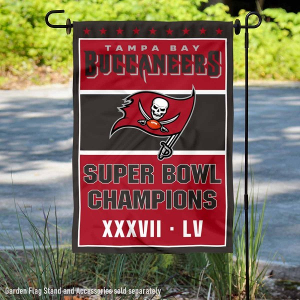 Tampa Bay Buccaneers 2 Time Super Bowl Champions Garden Flag is 12x18 inches in size, is made of thick 1-ply 300D triple spun polyester, and has two sided screen printed logos and lettering. Available with Express Next Day Ship, our Tampa Bay Buccaneers 2 Time Super Bowl Champions Garden Flag is NFL Officially Licensed and is double sided.