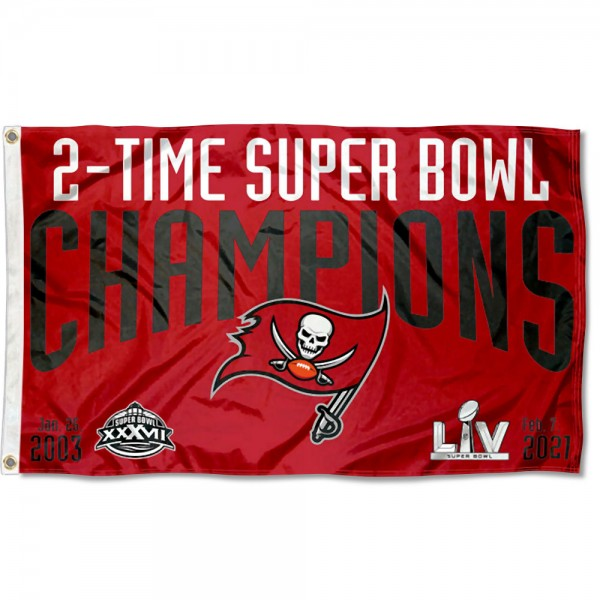 Our Tampa Bay Buccaneers 2 Time Super Bowl Champions Flag is double sided, made of poly, 3'x5', has two metal grommets, indoor or outdoor, and four-stitched fly ends. These Tampa Bay Buccaneers 2 Time Super Bowl Champions Flags are Officially Approved by the Tampa Bay Buccaneers.