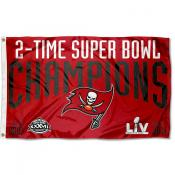 Tampa Bay Buccaneers 2 Time Super Bowl Champions Flag