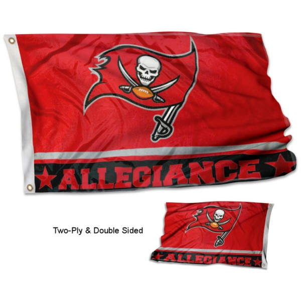 Tampa Bay Buccaneers Allegiance Flag measures 3'x5', is made of 2-ply double sided polyester with liner, has quadruple stitched sewing, two metal grommets, and has two sided team logos. Our Tampa Bay Buccaneers Allegiance Flag is officially licensed by the selected team and the NFL and is available with overnight express shipping.