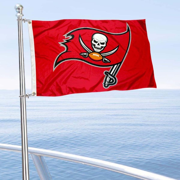 "Our Tampa Bay Buccaneers Boat and Nautical Flag is 12""x18"", made of three-ply poly, has a solid header with two metal grommets, and is double sided. This Boat and Nautical Flag for Tampa Bay Buccaneers is Officially Licensed by the NFL and can also be used as a motorcycle flag, boat flag, golf cart flag, or recreational flag."