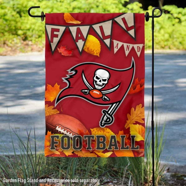 Tampa Bay Buccaneers Fall Football Leaves Decorative Double Sided Garden Flag is 12.5x18 inches in size, is made of 2-ply polyester, and has two sided screen printed logos and lettering. Available with Express Next Day Ship, our Tampa Bay Buccaneers Fall Football Leaves Decorative Double Sided Garden Flag is NFL Officially Licensed and is double sided.