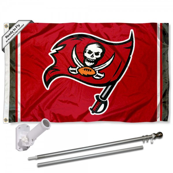 Our Tampa Bay Buccaneers Flag Pole and Bracket Kit includes the flag as shown and the recommended flagpole and flag bracket. The flag is made of polyester, has quad-stitched flyends, and the NFL Licensed team logos are double sided screen printed. The flagpole and bracket are made of rust proof aluminum and includes all hardware so this kit is ready to install and fly.