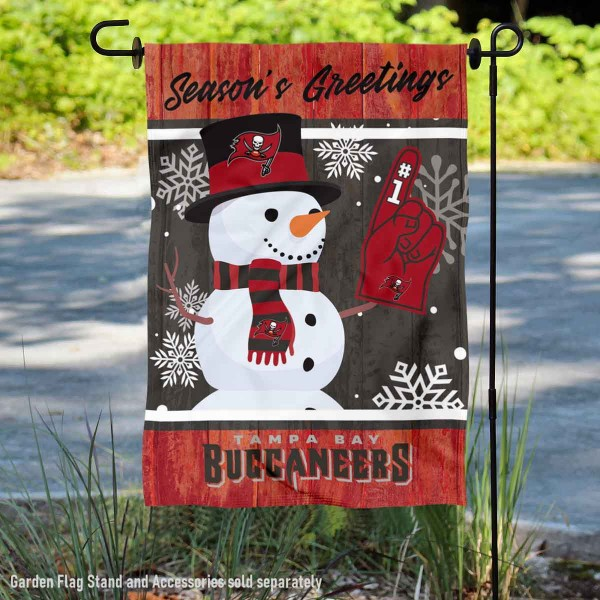 Tampa Bay Buccaneers Holiday Winter Snow Double Sided Garden Flag is 12.5x18 inches in size, is made of 2-ply polyester, and has two sided screen printed logos and lettering. Available with Express Next Day Ship, our Tampa Bay Buccaneers Holiday Winter Snow Double Sided Garden Flag is NFL Officially Licensed and is double sided.
