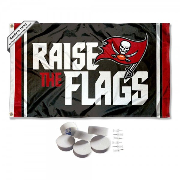 Our Tampa Bay Buccaneers Raise The Flags Banner Flag with Tack Wall Pads is double sided, made of poly, 3'x5', has two metal grommets, indoor or outdoor, and four-stitched fly ends. These Tampa Bay Buccaneers Raise The Flags Banner Flag with Tack Wall Padss are Officially Approved by the Tampa Bay Buccaneers. Tapestry Wall Hanging Tack Pads which include a 6 pack of banner display pads with 6 tacks allowing you to hang your pennant on any wall damage-free.