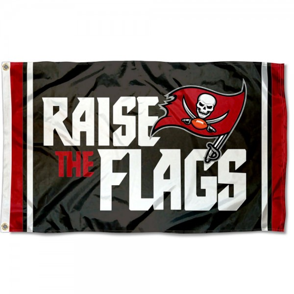 Our Tampa Bay Buccaneers Raise The Flags Flag is double sided, made of poly, 3'x5', has two metal grommets, indoor or outdoor, and four-stitched fly ends. These Tampa Bay Buccaneers Raise The Flags Flags are Officially Approved by the Tampa Bay Buccaneers.