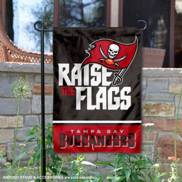 Tampa Bay Buccaneers Raise The Flags Garden Banner Flag is 12.5x18 inches in size, is made of 2-ply polyester, and has two sided screen printed logos and lettering. Available with Express Next Day Ship, our Tampa Bay Buccaneers Raise The Flags Garden Banner Flag is NFL Officially Licensed and is double sided.