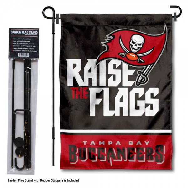 "Tampa Bay Buccaneers Raise The Flags Garden Banner and Flag Stand kit includes our 13""x18"" garden banner which is made of 2 ply poly with liner and has screen printed licensed logos. Also, a 40""x17"" inch garden flag stand is included so your Tampa Bay Buccaneers Raise The Flags Garden Banner and Flag Stand is ready to be displayed with no tools needed for setup. Fast Overnight Shipping is offered and the flag is Officially Licensed and Approved by the selected team."