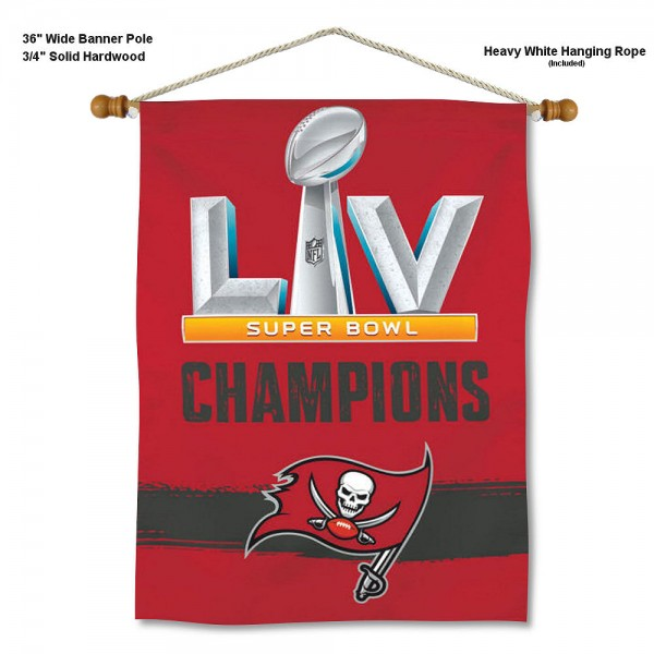 """Tampa Bay Buccaneers Super Bowl Champions Banner with Display Pole is constructed of polyester material, measures a large 28""""x40"""", offers screen printed logos, and includes a sturdy 3/4"""" diameter and 36"""" wide banner pole and hanging cord. Our Tampa Bay Buccaneers Super Bowl Champions Banner with Display Pole is offered with Express Next Day Fast Shipping."""