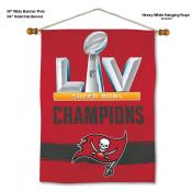 Tampa Bay Buccaneers Super Bowl Champions Banner with Display Pole