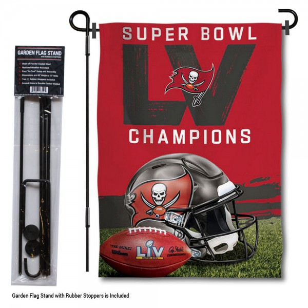 """Tampa Bay Buccaneers Super Bowl Champions Garden Banner and Flag Stand kit includes our 13""""x18"""" garden banner which is made of 2 ply poly with liner and has screen printed licensed logos. Also, a 40""""x17"""" inch garden flag stand is included so your Tampa Bay Buccaneers Super Bowl Champions Garden Banner and Flag Stand is ready to be displayed with no tools needed for setup. Fast Overnight Shipping is offered and the flag is Officially Licensed and Approved by the selected team."""