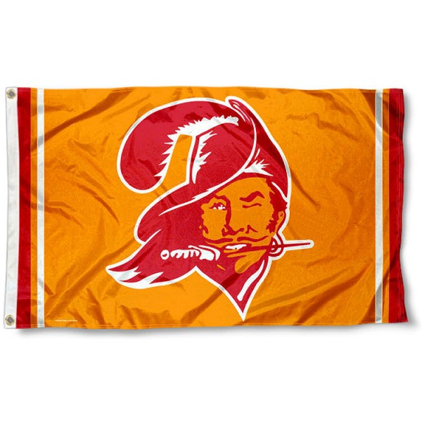 Our Tampa Bay Buccaneers Throwback Flag is double sided, made of poly, 3'x5', has two metal grommets, indoor or outdoor, and four-stitched fly ends. These Tampa Bay Buccaneers Throwback Flags are Officially Licensed by the NFL.