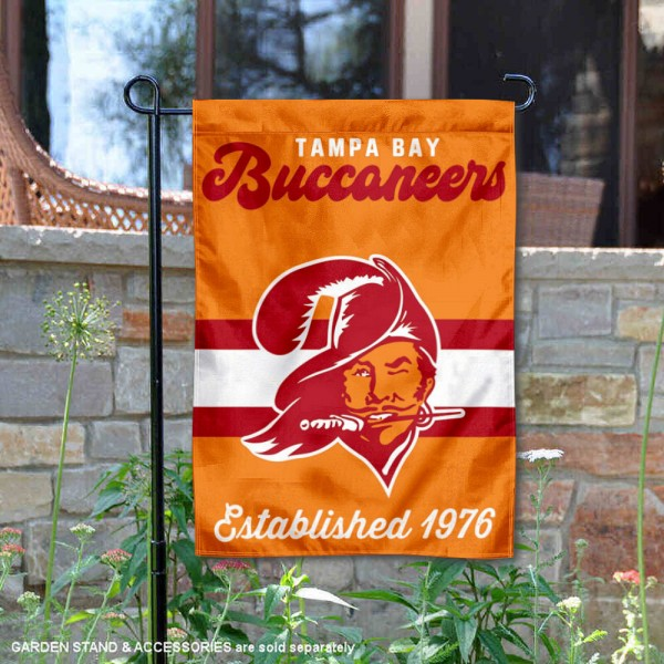 Tampa Bay Buccaneers Throwback Logo Double Sided Garden Flag Flag is 12.5x18 inches in size, is made of 2-ply polyester, and has two sided screen printed logos and lettering. Available with Express Next Day Ship, our Tampa Bay Buccaneers Throwback Logo Double Sided Garden Flag Flag is NFL Officially Licensed and is double sided.