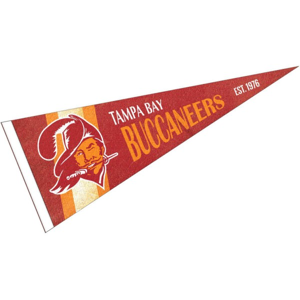 This Tampa Bay Buccaneers Throwback Vintage Retro Pennant is 12x30 inches, is made of premium felt blends, has a pennant stick sleeve, and the team logos are single sided screen printed. Our Tampa Bay Buccaneers Throwback Vintage Retro Pennant is NFL Officially Licensed.