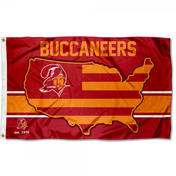 Our Tampa Bay Buccaneers USA Country Flag is double sided, made of poly, 3'x5', has two metal grommets, indoor or outdoor, and four-stitched fly ends. These Tampa Bay Buccaneers USA Country Flags are Officially Approved by the Tampa Bay Buccaneers.