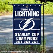 Tampa Bay Lightning 3 Time and 2021 Stanley Cup Champions Garden Flag