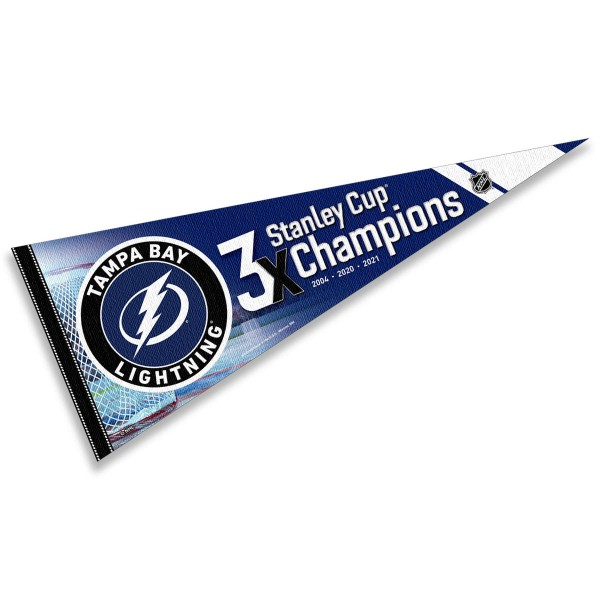 Tampa Bay Lightning 3 Time Stanley Cup Champions Pennant displays the Tampa Bay Lightning NHL Vintage Hockey logos, made of soft wool blends, measure a large 12x30 inches, and is offered with Same Day Shipping!. These Tampa Bay Lightning 3 Time Stanley Cup Champions Pennants are perfect for showing your allegiance in on any wall at home or office.