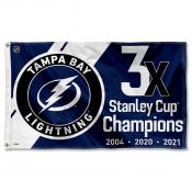 Tampa Bay Lightning 3 Time Stanley Cup NHL 2021 Champions Flag