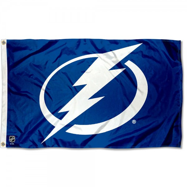 The Tampa Bay Lightning Flag is four-stitched bordered, double sided, made of poly, 3'x5', and has two grommets. These Tampa Bay Lightning Flags are NHL Genuine Merchandise.