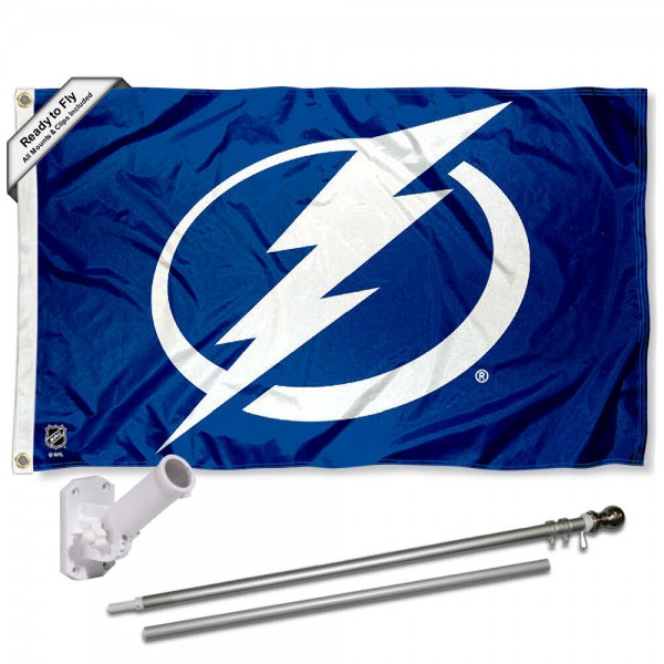 Our Tampa Bay Lightning Flag Pole and Bracket Kit includes the flag as shown and the recommended flagpole and flag bracket. The flag is made of polyester, has quad-stitched flyends, and the NHL Licensed team logos are double sided screen printed. The flagpole and bracket are made of rust proof aluminum and includes all hardware so this kit is ready to install and fly.
