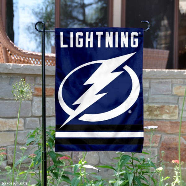 Tampa Bay Lightning Garden Flag is 12.5x18 inches in size, is made of 2-ply polyester, and has two sided screen printed logos and lettering. Available with Express Next Day Ship, our Tampa Bay Lightning Garden Flag is NHL Officially Licensed and is double sided.