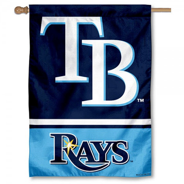 Tampa Bay Rays Double Sided House Flag is screen printed with Tampa Bay Rays logos, is made of 2-ply 100% polyester, and is two sided and double sided. Our banners measure 28x40 inches and hang vertically with a top pole sleeve to insert your banner pole or flagpole.