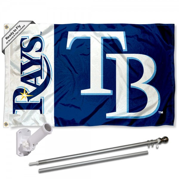 Our Tampa Bay Rays Flag Pole and Bracket Kit includes the flag as shown and the recommended flagpole and flag bracket. The flag is made of polyester, has quad-stitched flyends, and the MLB Licensed team logos are double sided screen printed. The flagpole and bracket are made of rust proof aluminum and includes all hardware so this kit is ready to install and fly.