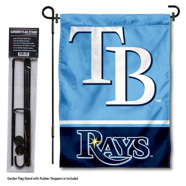 "Tampa Bay Rays Logo Garden Flag and Stand kit includes our 13""x18"" garden banner which is made of 2 ply poly with liner and has screen printed licensed logos. Also, a 40""x17"" inch garden flag stand is included so your Tampa Bay Rays Logo Garden Flag and Stand is ready to be displayed with no tools needed for setup. Fast Overnight Shipping is offered and the flag is Officially Licensed and Approved by the selected team."
