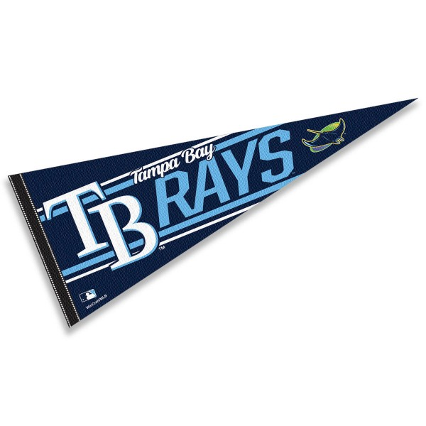 This Tampa Bay Rays Pennant measures 12x30 inches, is constructed of felt, and is single sided screen printed with the Tampa Bay Rays logo and insignia. Each Tampa Bay Rays Pennant is a MLB Genuine Merchandise product.