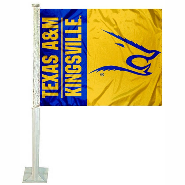 TAMU Kingsville Javelinas Car Window Flag measures 12x15 inches, is constructed of sturdy 2 ply polyester, and has screen printed school logos which are readable and viewable correctly on both sides. TAMU Kingsville Javelinas Car Window Flag is officially licensed by the NCAA and selected university.