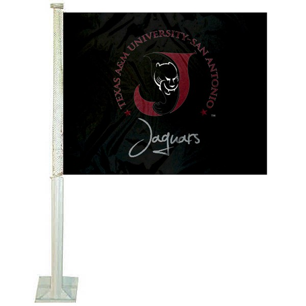 TAMUSA Jaguars Car Window Flag measures 12x15 inches, is constructed of sturdy 2 ply polyester, and has screen printed school logos which are readable and viewable correctly on both sides. TAMUSA Jaguars Car Window Flag is officially licensed by the NCAA and selected university.