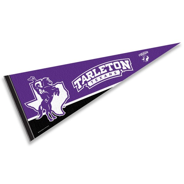 Tarleton State Pennant consists of our full size sports pennant which measures 12x30 inches, is constructed of felt, is single sided imprinted, and offers a pennant sleeve for insertion of a pennant stick, if desired. This Tarleton State University Felt Pennant is officially licensed by the selected university and the NCAA.