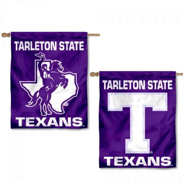Tarleton State Texans Double Sided House Flag is a vertical house flag which measures 30x40 inches, is made of 2 ply 100% polyester, offers screen printed NCAA team insignias, and has a top pole sleeve to hang vertically. Our Tarleton State Texans Double Sided House Flag is officially licensed by the selected university and the NCAA.