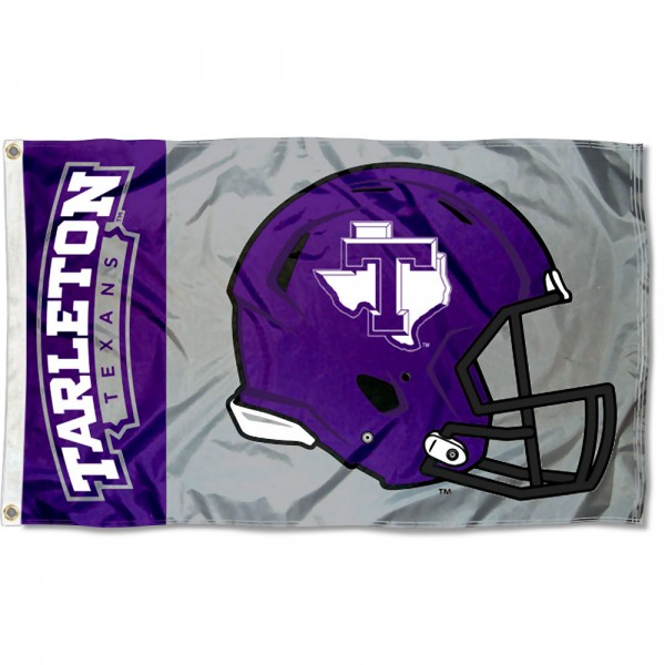 Tarleton State Texans Football Helmet Flag measures 3x5 feet, is made of 100% polyester, offers quadruple stitched flyends, has two metal grommets, and offers screen printed NCAA team logos and insignias. Our Tarleton State Texans Football Helmet Flag is officially licensed by the selected university and NCAA.