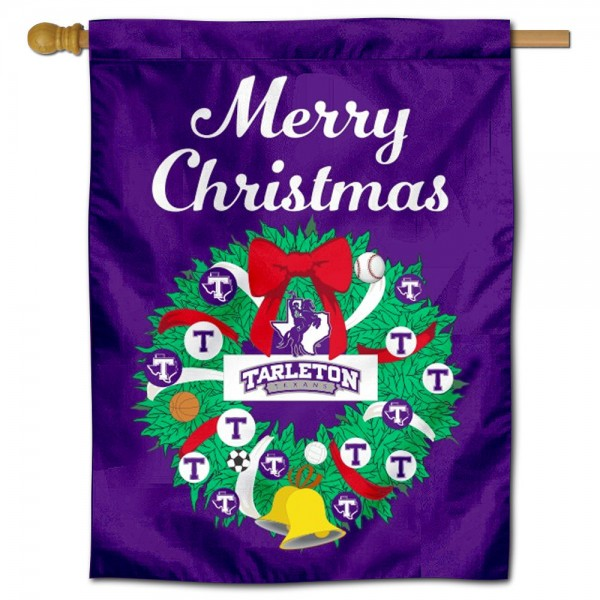 Tarleton State Texans Happy Holidays Banner Flag measures 30x40 inches, is made of poly, has a top hanging sleeve, and offers dye sublimated Tarleton State Texans logos. This Decorative Tarleton State Texans Happy Holidays Banner Flag is officially licensed by the NCAA.