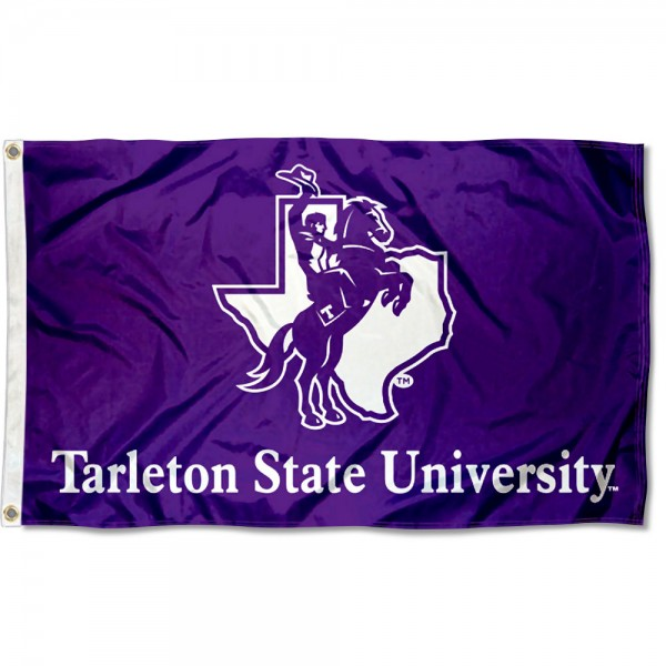 Tarleton State Texans Logo Flag measures 3x5 feet, is made of 100% polyester, offers quadruple stitched flyends, has two metal grommets, and offers screen printed NCAA team logos and insignias. Our Tarleton State Texans Logo Flag is officially licensed by the selected university and NCAA.