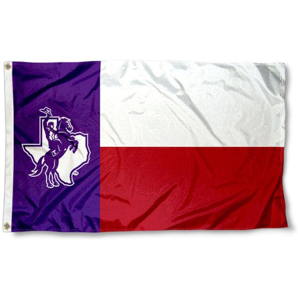 Tarleton State Texans State Flag measures 3'x5', is made of 100% poly, has quadruple stitched sewing, two metal grommets, and has double sided Tarleton State Texans logos. Our Tarleton State Texans State Flag is officially licensed by the selected university and the NCAA
