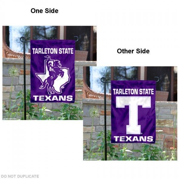 Tarleton State Texans Two Logo Garden Flag is 13x18 inches in size, is made of 2-layer polyester, screen printed university athletic logos and lettering, and is readable and viewable correctly on both sides. Available same day shipping, our Tarleton State Texans Two Logo Garden Flag is officially licensed and approved by the university and the NCAA.