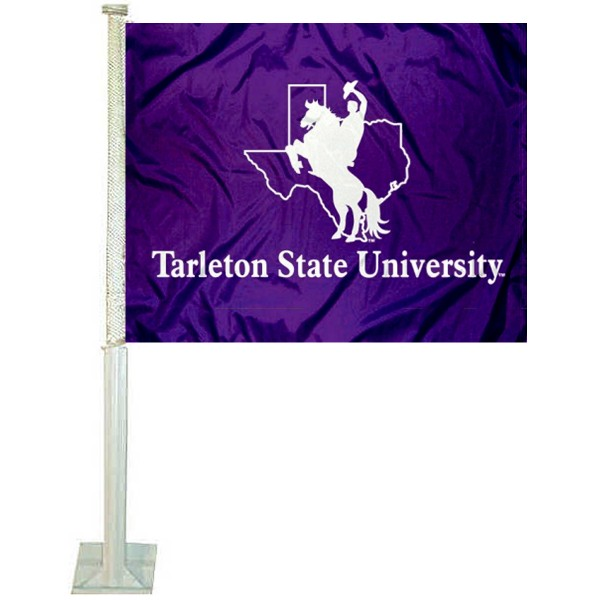 Tarleton State University Car Window Flag measures 12x15 inches, is constructed of sturdy 2 ply polyester, and has dye sublimated school logos which are readable and viewable correctly on both sides. Tarleton State University Car Window Flag is officially licensed by the NCAA and selected university.