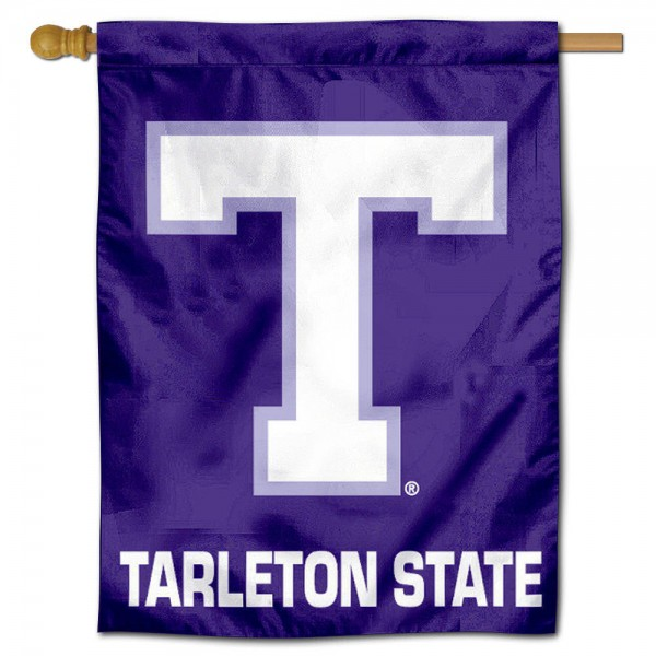 "Tarleton State University Decorative Flag is constructed of polyester material, is a vertical house flag, measures 30""x40"", offers screen printed athletic insignias, and has a top pole sleeve to hang vertically. Our Tarleton State University Decorative Flag is Officially Licensed by Tarleton State University and NCAA."