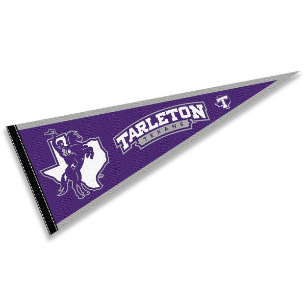 Tarleton State University Wordmark Pennant consists of our full size sports pennant which measures 12x30 inches, is constructed of felt, is single sided imprinted, and offers a pennant sleeve for insertion of a pennant stick, if desired. This Tarleton State University Wordmark Pennant Decorations is Officially Licensed by the selected university and the NCAA.